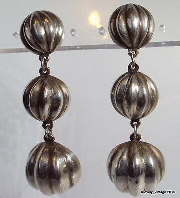 Vintage Sterling Silver Puffy 3D Ribbed Dome Circle Long Dangle Earrings 2.25""