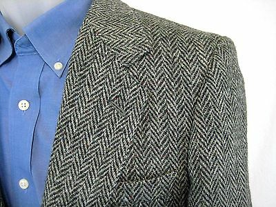 Vintage 70's Harris Tweed Blazer Size 38 Gray Herringbone 100% Scottish Wool