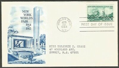 Us Fdc 1964 New York Worlds Fair 5C Stamp First Day Of Issue Cover
