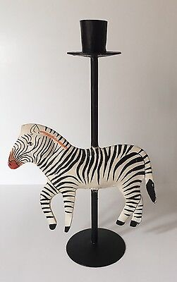 Zebra Candle Holder Vintage Whimsical Black White Home Decor Collectible