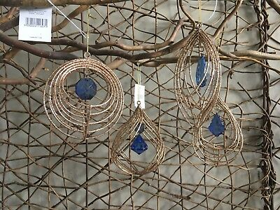 Gisela Graham Christmas gold glitter wire decoration with blue jewel set of 4