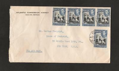 Bermuda  WW2 Censored Cover with a strip of 5 +1 King George VI