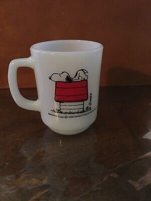 """Vintage 1958 Fire King Snoopy """"I think I'm allergic to mornings"""" Coffee Cup Mug"""