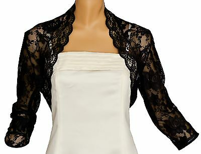 Black Lace 3/4 Sleeve Bolero Shrug Size 18