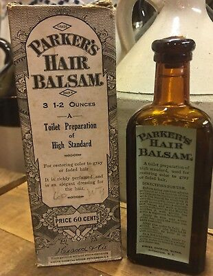 Parker's Hair Balsam With Box & Contents Antique Patent Medicine Bottle