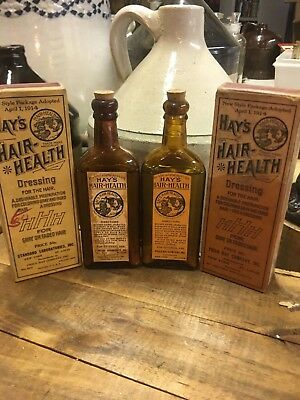 2 Different Hay's Hair Health Bottles & Boxes  Antique Patent Medicine Bottle
