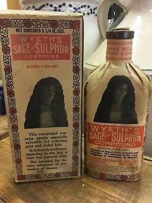 Wyeth's Sage And Sulphur Hair Compound Antique Patent Medicine Bottle