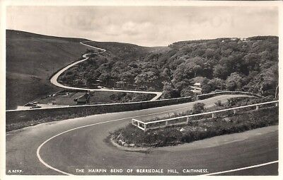 Rare Old R/p Postcard - Hairpin Bend Berriedale Hill Caithness Sutherland C.1939
