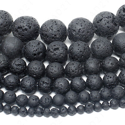 "Natural Lava Stone Volcano Beads Round 4mm 6mm 8mm 10mm 12mm 14mm 15.5"" Strand"