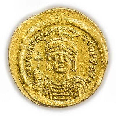 Maurice Tiberius Gold Solidus Coin Byzantine Constantinople Xf 582-602 Ad Coins: Ancient Byzantine (300-1400 Ad)