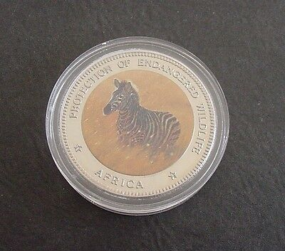 1996 Uganda Endangered Wildlife Africa Colored Zebra 1000 Shillings Coin