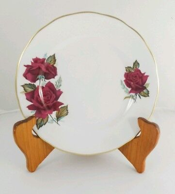 Vintage Royal Vale Red Roses Bone china Side plate Bread and butter plate UK
