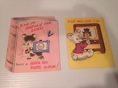 1950s VINTAGE GREETING CARD  GET WELL LOT OF 2 W/ SMALL EXTRAS INSIDE USED
