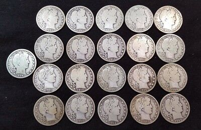 Lot of 21 Barber Half Dollars 50c - Mixed Dates with Dates Listed