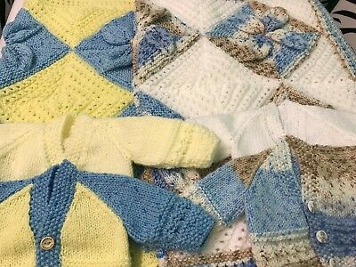 Hand Knitted 3D Leaf Blanket And 2 Cardigans (Newborn).
