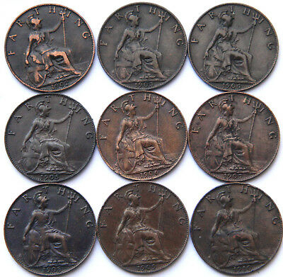 Edward VII 1902-1910 Farthings Date Run 9 Coins Good Grades.