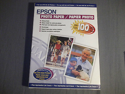 """Epson Glossy Photo Printer Paper 8.5""""x11"""" 100 Sheets for Ink Jet Printers 41864"""