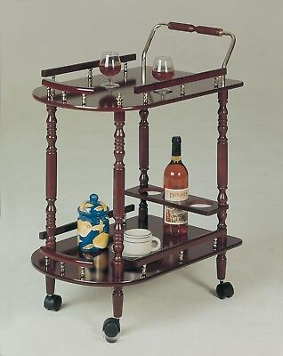 Serving Cart In Cherry Wood On Wheels Wine Service Bar Carts