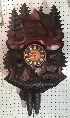 Large Rare Antique Black Forest Waterwheel Chalet German Cuckoo Wall Clock