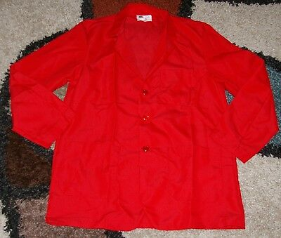"Best Medical Woman L/S Staff Lab Coat 3 pockets Red 30"" Length Sz 4X 5X (58)"