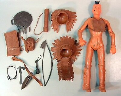 """Vintage Marx Johnny West """"Fighting Eagle"""" Action Figure Doll W/ Accessories"""