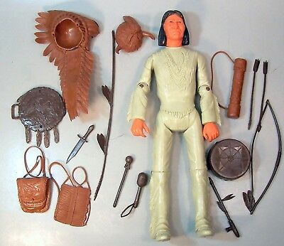"""Vintage Marx Johnny West """"Geronimo"""" Action Figure Doll W/ Accessories"""