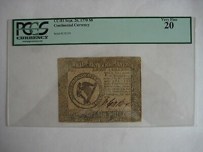 CC-81   $8  DOLLARS Sept 26 1778  CONTINENTAL CURRENCY VF20
