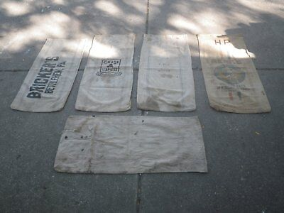 5 canvas feed bags lot #5