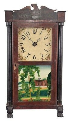Silas Hoadley, Plymouth, Conn., 30 hour, time and alarm miniature col... Lot 512