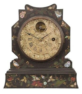 J. C. Brown, Bristol, Conn., shelf clock with a painted, gilt and MOP ... Lot 76