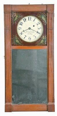 New Hampshire style mirror wall clock with 8 day, time only, weight d... Lot 467