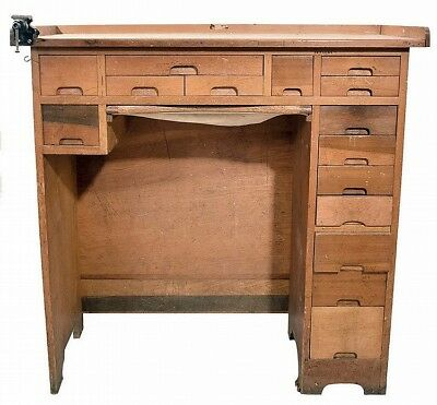 Watchmakers bench, maple with 15 drawers and catch tray, with contents... Lot 43