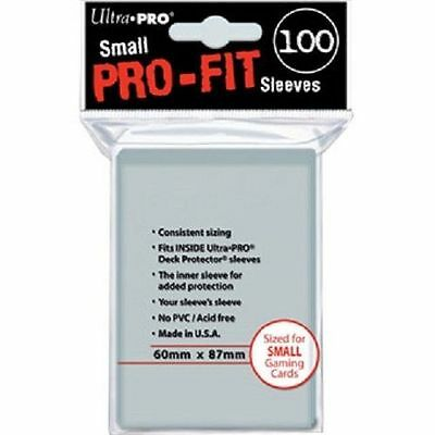 100 Ultra Pro Clear Pro-Fit Top-Load Inner CARD SLEEVES Small Sized 60 x 87 mm