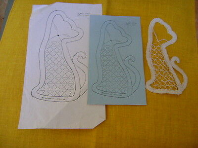 Bobbin Lace Cat Pattern And Completed Design