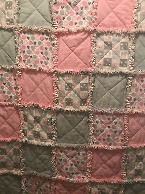 Little girl handmade flannel rag quilt-Great shower gift- Dream Big Little One