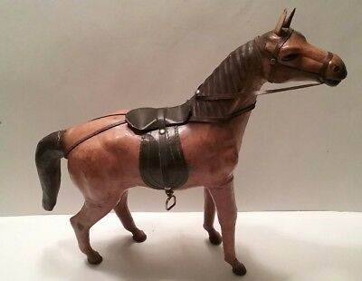 """Vintage Leather Wrapped Horse Statue Figure with Saddle 13"""" Tall Tan Glass Eyes"""