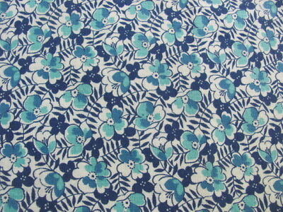 Vintage cotton shades of blue floral partial feed sack