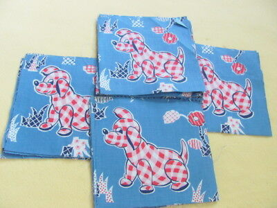 Vintage novelty juvenile quilting weight cotton gingham dog squares