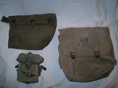 vintage lot of 3 1940's U.S. military C 2533 canvas bag M9A1 gas mask Ammo pouch