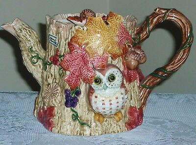 FITZ AND FLOYD Large teapot 1994 Autumn Woods RARE Owls Grapes NICE Hand Painted