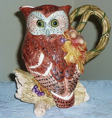 FITZ AND FLOYD Large Pitcher Rare Owls Grapes Autumn Woods 1994 Hand Painted