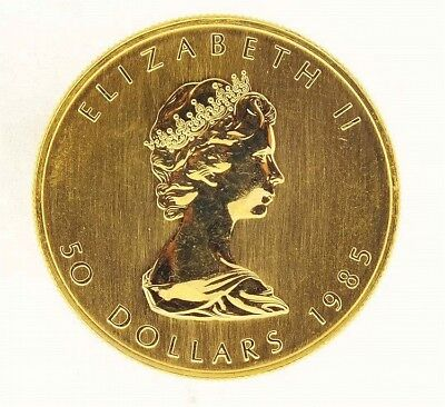 Canadian Fifty Dollar Gold Maple Leaf Coin from 1985. Contains one ou... Lot 739