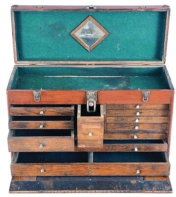 "H. Gerstner & Sons, Dayton, Ohio, 26"" oak machinist's chest, 11 drawe... Lot 756"