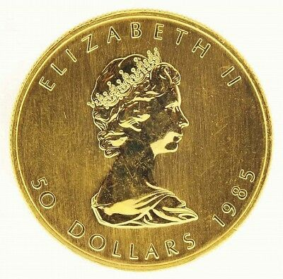 Canadian Fifty Dollar Gold Maple Leaf Coin from 1985. Contains one ou... Lot 738