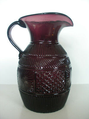 Amethyst 3 Mold Geometric Stoddard Reproduction Pitcher CLEVENGER BROS Pontil