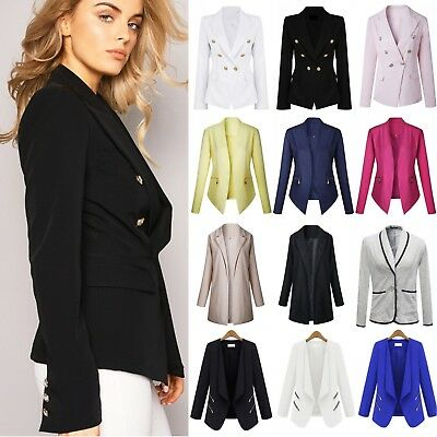 NEW Women Slim Blazer Jacket OL Office Business Coat Button Ladies Outwear Suit