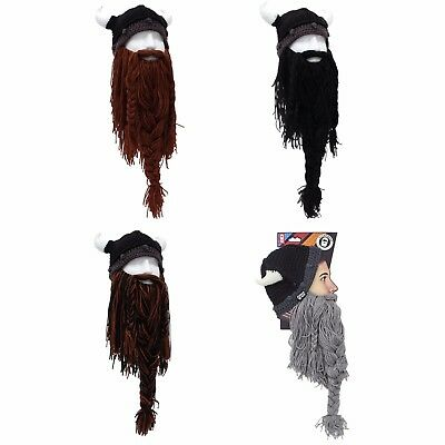 4fe391c2505 Barbarian Pillager Viking Warm Thermal Winter Beard Ski Mask With Horn Hat  ALL +
