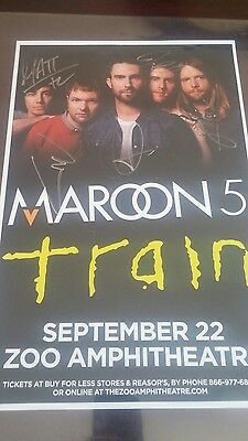 Signed Maroon 5 Rock Pop Music Event Poster Live Train Adam Levine The Voice H@t