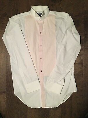 Arrow shirt tuxedo wing collar Mens 15.5 38/39 French Cuff Pleats White Pink