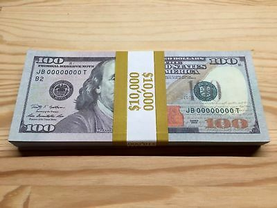 100 Pieces Invalid New Style American 100 Dollars Prop Paper Cash Money $10,000